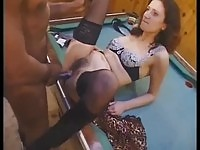 French brunette lady in interracial