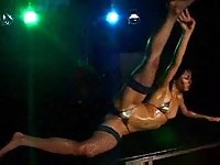 Asian whore in micro bikini strip dance