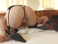 Naughty blonde role plays with her stud