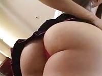 Pigtailed schoolgirl gets anal lovin