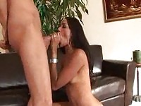 Ebony slut spreads on couch to get fucked