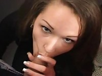 A hot slut sucking cock in bathroom