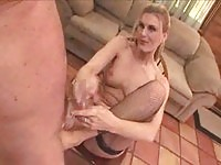Chick In Fishnet Footjobs