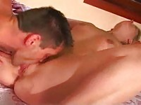 Pig tailed blonde fucks her guy over her bed