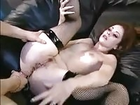 Stocking amateur fucked in the ass