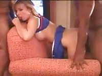 Cheerleader gets fucked hard by black guys