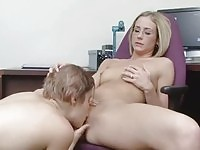 Lesbian sex with hot office nerds