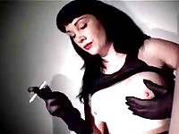 Brunette smoker masturbating