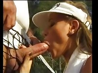 Busty tennis player fucks for free lessons