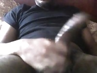 Hung black guy shows off huge penis