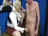 Chubby teen works on old cock