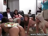 Pretty sorority babes humiliated in front of frat guys
