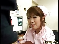 Kinky asian nurse wanks his patients hungry schlong