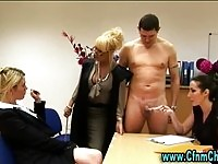 Gorgeous cfnm milf secretaries strokes solid dick