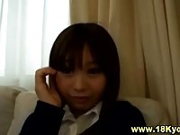 Cutie asian schoolgirl gets finger banged