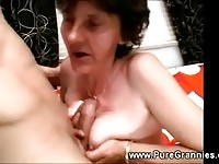 This granny tries tit job too