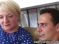 Lusty guy asks horny granny to suck his cock
