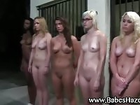 Charming sorority teens naked in public during initiation