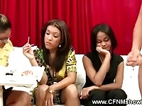 Hot ladies cheering on a cum popping large meat