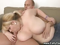 Fatty blonde beauty gets nailed