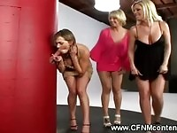 Three blondes having some cock