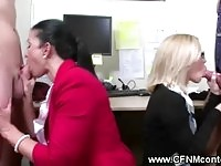 Horny office babes in foursome suck