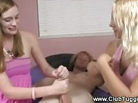 Fine young teen jerking while her mom watch