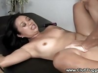 Slutty Asian does a gag fuck gag sex action
