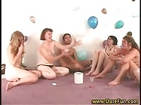 Partying babes naked in party games