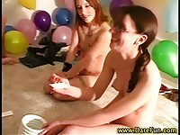 Slutty girls get together for lesbian fun