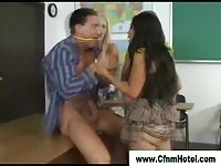 Girls tie up the teacher to play