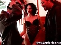 A tall and sexy Amsterdam hooker in action