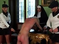 Nun and schoolgil punishing a dude