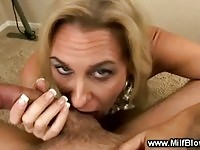 Busty mature whore suckingin the office