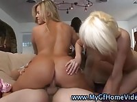 Sweet girlfriend giving her lover a good threesome