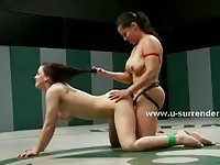 Hot babes wrestle out for strapon wild sex