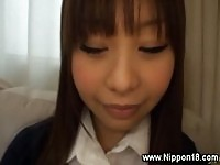 Shy asian schoolgirl getting fingered and licked