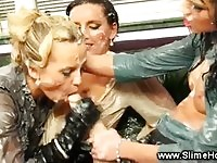 Dirty lesbians plays warm slime while pounding a strapon