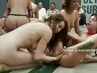 Nude lesbian wrestling