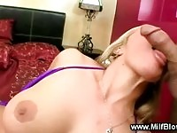 Blonde milf with nice big tits sucking