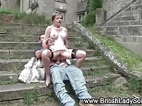 Outdoor immense fucking on a busty mature slut