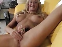 Big boobs blonde giving a russian