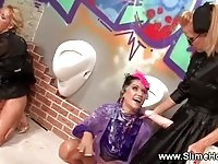 Electrifying lesbians pleasing one another at the gloryhole