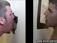 He breaks a sweat whille busting his nut though the gloryhole