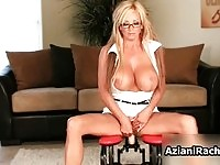 Blonde chick with a pair of massive tits cums by riding her favorite big dildo