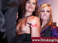 Well dressed office babes pounded on a private party