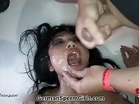 A busty asian gets facials