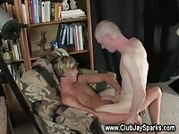 A beautiful blonde guy gets action