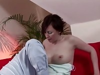 Big boob mature whore gagging a large rod