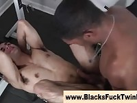 Black stud destroys twink ass in the gym